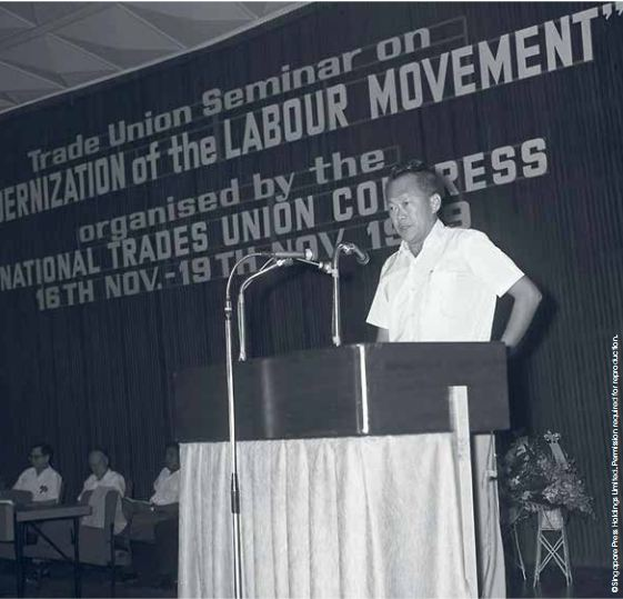Mr Lee Kuan Yew opening the NTUC Modernisation Seminar in 1969.