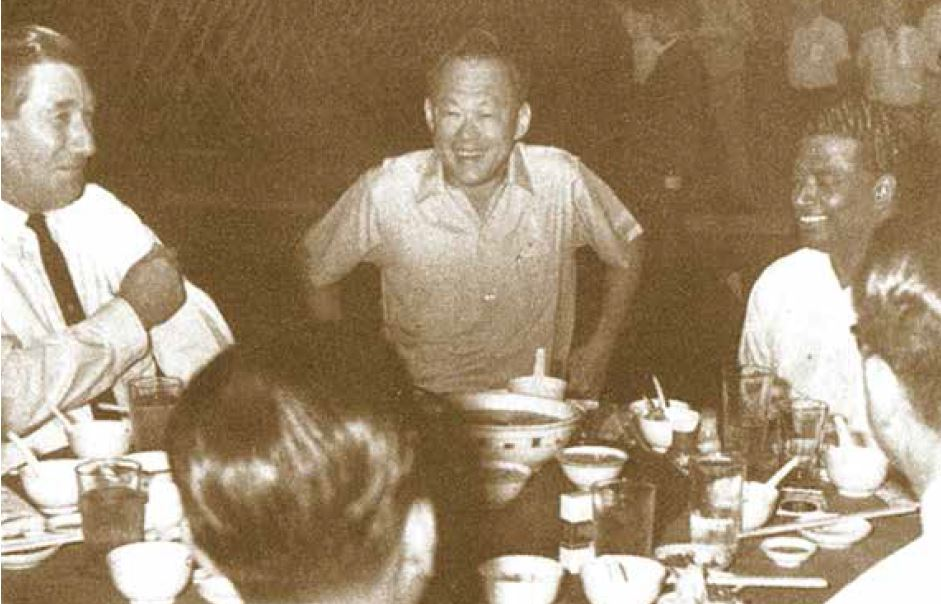 Mr Lee Kuan Yew in a happy mood at the first anniversary dinner of the Sembawang Shipyard Employees' Union in 1970.