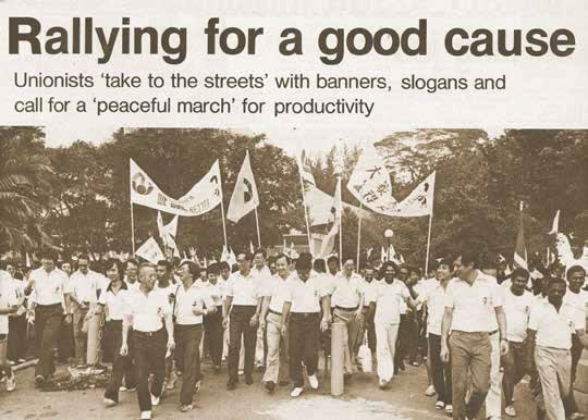 Unionists went on a peaceful march through Chinatown in 1982 to support Productivity Month.