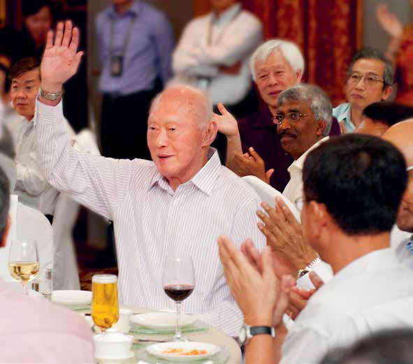 Mr Lee Kuan Yew with union leaders at the NTUC Labour Leadership Appreciation Dinner in 2012.