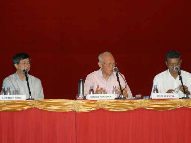 Mr Lee Kuan Yew speaking at a dialogue session with union leaders on 23 July 2003.